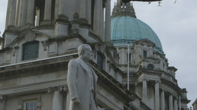 statue in front of belfast city hall - northern ireland stock videos & royalty-free footage
