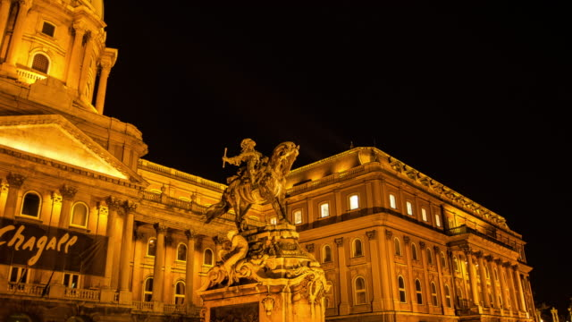 statue in front of buda castle museum hyperlapse timelapse of budapest, hungary, europe. - time-lapse - castle stock videos & royalty-free footage