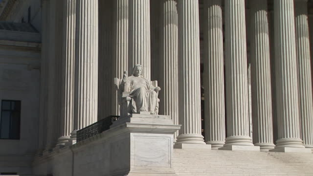 CU, Statue in front of United States Supreme Court Building, Washington, DC, Washington, USA, PAN