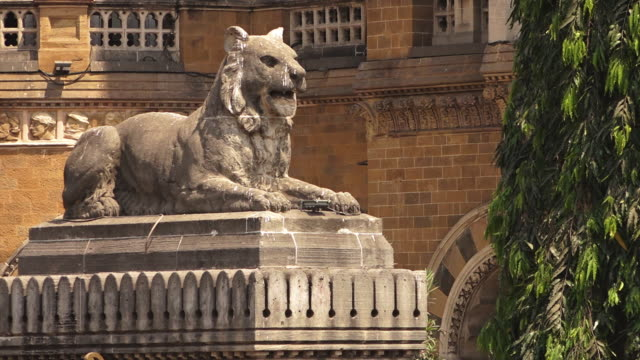 A statue of a lion rests in India