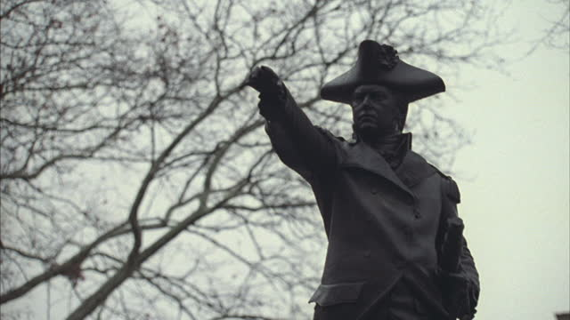 a statue of admiral barry stands in front of independence hall. - independence hall stock videos & royalty-free footage