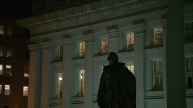 td statue of alexander hamilton silhouetted in front of us treasury building / washington, d.c., united states - alexander hamilton politician stock videos and b-roll footage