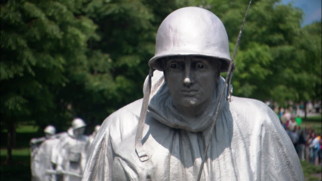 CU, TU, ZI statue of army soldier, Korean War Veterans Memorial, Washington DC, USA