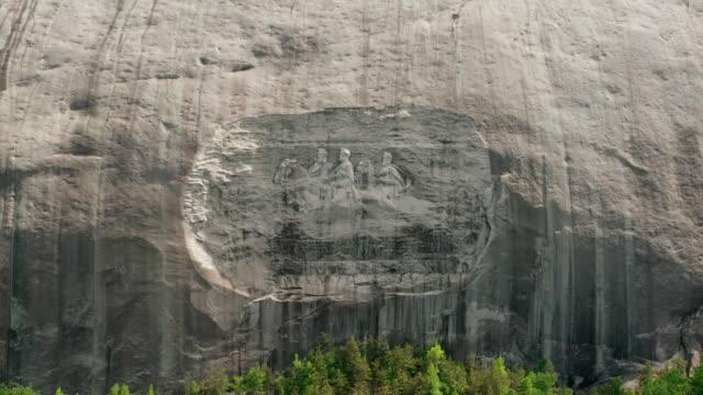 MS HA POV Statue of bas-relief, Davis, Lee, Jackson, Civil War on Mountain / Stone Mountain, Georgia, United States