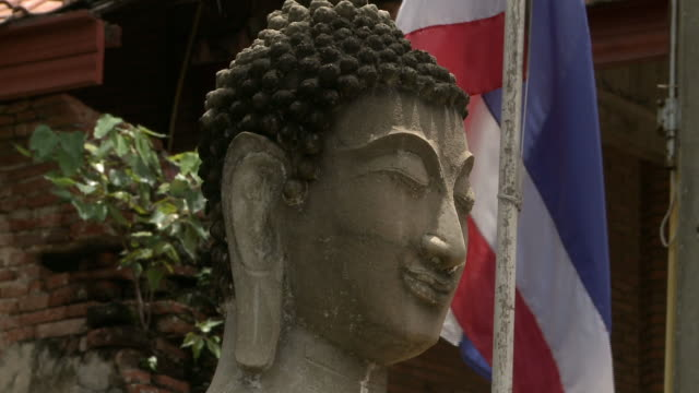 statue of buddha and national flag of thailand - male likeness stock videos & royalty-free footage