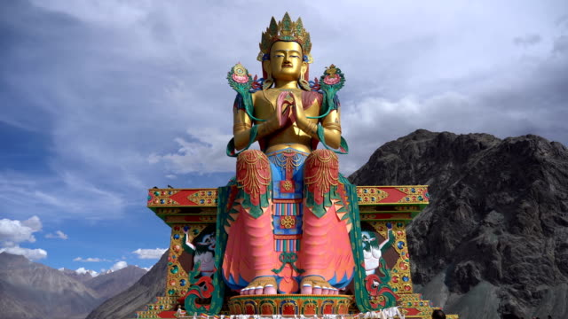 statue of buddha image in tibetan stlye at diskit monastery, nubra valley,ladakh,india - cultures stock videos & royalty-free footage