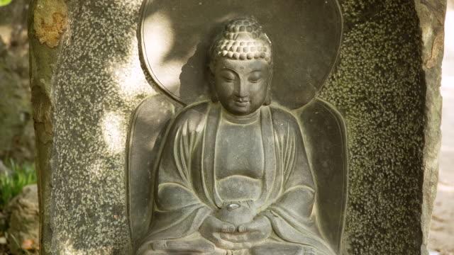 cu statue of buddha in seonunsa temple / gochang, jeollabuk do, south korea - figura maschile video stock e b–roll