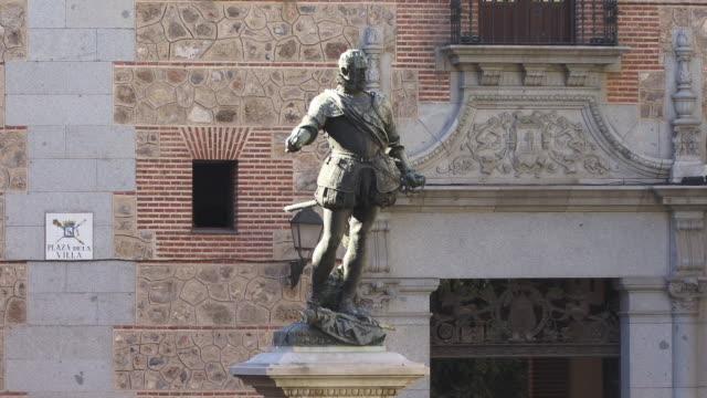 ws, statue of don alvaro de bazan in front of town hall (plaza de la villa), madrid, spain - traditional armor stock videos and b-roll footage