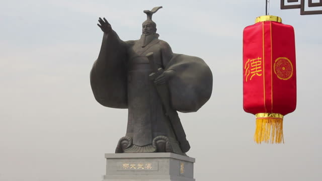ms statue of emperor wu of han dynasty and red lantern/xian,shaanxi,china - emperor stock videos and b-roll footage