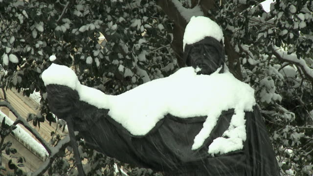 ws statue of ernest shackleton covered in snow, london, united kingdom - ernest shackleton stock videos & royalty-free footage