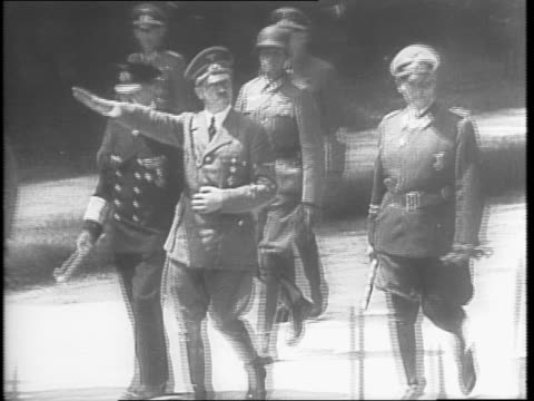 statue of ferdinand foch at the glade of the armistice closeup of inscription / adolph hitler standing with erwin rommel and another officer / nazis... - 1942 stock videos & royalty-free footage