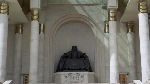 statue of genghis khan at mongolian parliament building - ulaanbaatar, mongolia - ulan bator stock videos & royalty-free footage