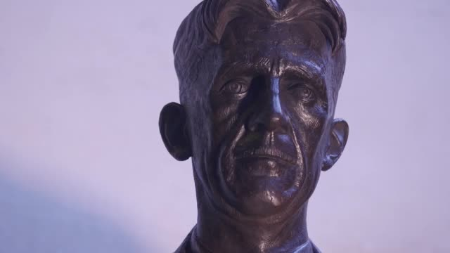 statue of george orwell is unveiled outside the bbc's new broadcasting house. the statue was funded by the george orwell memorial trust, which was... - james naughtie stock videos & royalty-free footage
