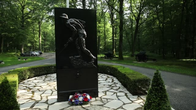 Statue of 'iron Mike' the Marine Memorial In Belleau Wood where 100 years before US soldiers many of them marines repelled repeated assaults from a...