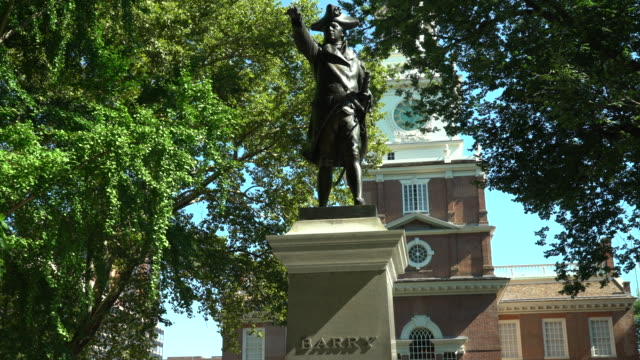 statue of john barry, independence hall - independence hall stock videos and b-roll footage