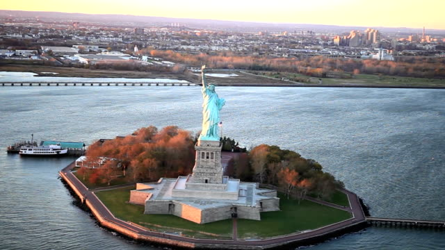 statue of liberty - aerial shot - statue of liberty new york city stock videos and b-roll footage