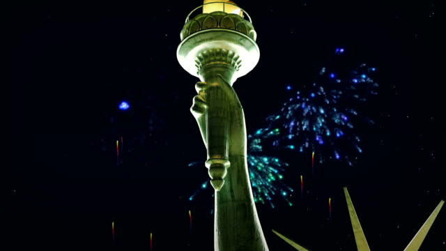 statue of liberty, new york city, firework display - statue of liberty new york city stock videos & royalty-free footage