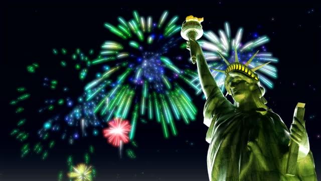 statue of liberty, new york city, firework display - statue of liberty new york city stock videos and b-roll footage