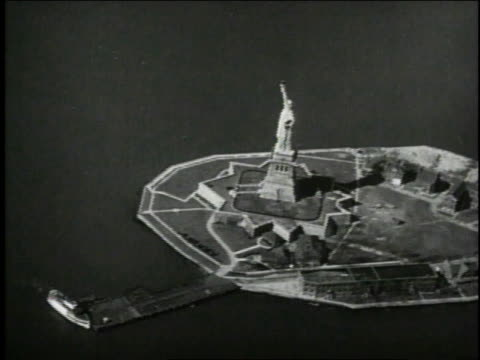 1940 AERIAL Statue of Liberty / New York, New York, United States