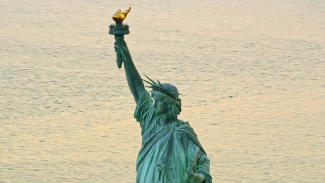 aerial statue of liberty, nyc - statue of liberty new york city stock videos & royalty-free footage