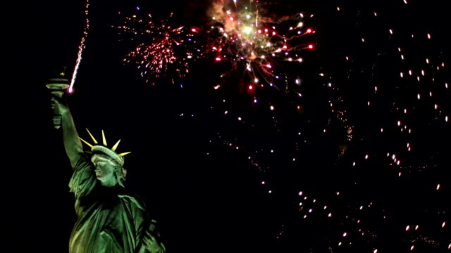 Statue of Liberty with Fireworks behind - Wide (New York)