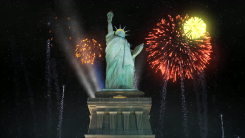 statue of liberty with fireworks - statue of liberty new york city 個影片檔及 b 捲影像