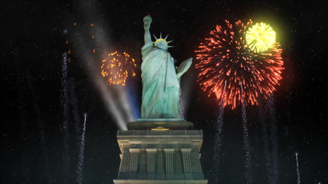 statue of liberty with fireworks - fourth of july stock videos & royalty-free footage