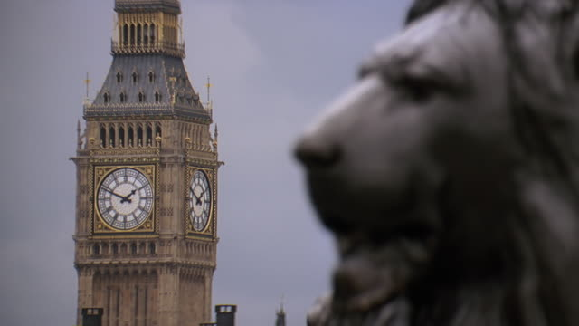 vídeos de stock e filmes b-roll de cu r/f statue of lion with big ben in background / london, united kingdom - torre de relógio