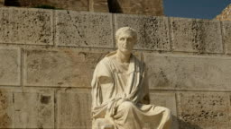 statue of menander at the acropolis in athens, greece