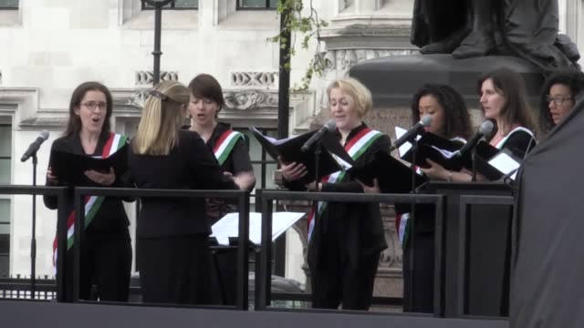 A statue of Millicent Fawcett is unveiled in Parliament Square Performances from the Suffrgist Sisters and the cast of Sylvia a speech from London...