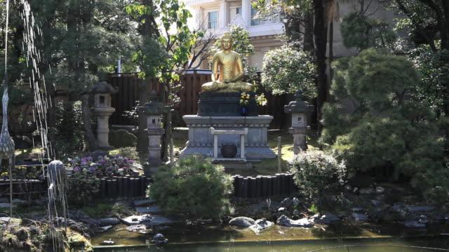 vídeos de stock e filmes b-roll de ms statue of of buddha near pond / kawasaki, kanagawa,  japan - figura masculina