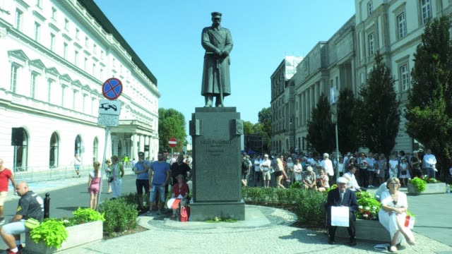 statue of of former statesman jozef pilsudski is seen in the old town of warsaw, poland on september 1, 2019. poland is commemorating the start of... - old town stock videos & royalty-free footage