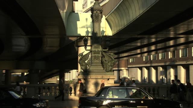 statue of qilin on nihonbashi, tokyo, japan - pair stock videos & royalty-free footage