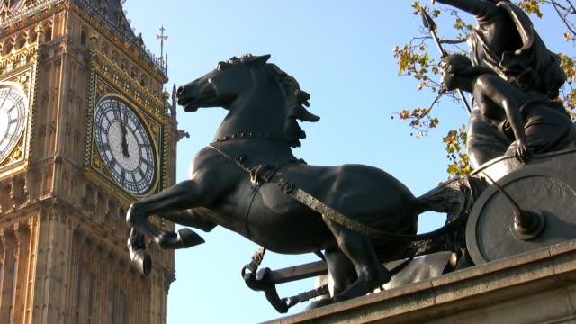 Statue of Queen Boudicca and Big Ben clock tower at the Houses of Parliament
