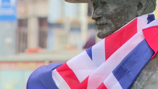 statue of robert baden powell founder of the scout movement in poole doset there are calls by campaigners to have it removed as they say he was an... - architecture stock videos & royalty-free footage