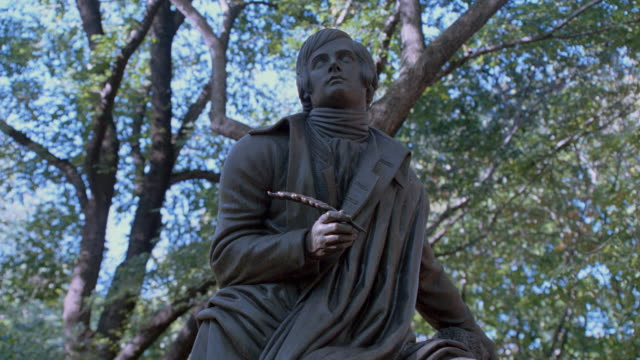 a statue of robert burns peers skyward in new york's central park. - poetry stock videos & royalty-free footage