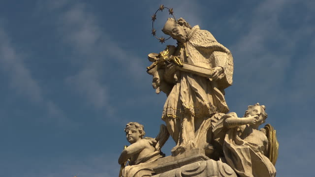 ms of statue of st. john nepomucene - baroque stock videos & royalty-free footage