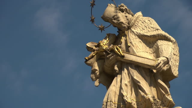 cu of statue of st. john nepomucene - baroque stock videos & royalty-free footage