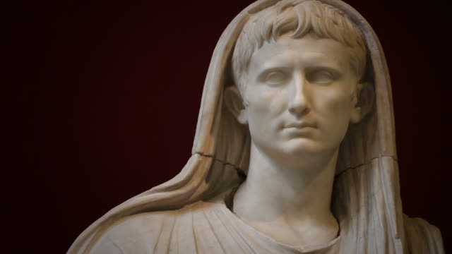 statue of the emperor augustus as pontifex maximus - sculpture stock videos & royalty-free footage