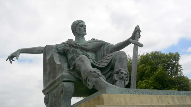 statue of the roman emperor constantine in york - roman stock videos and b-roll footage