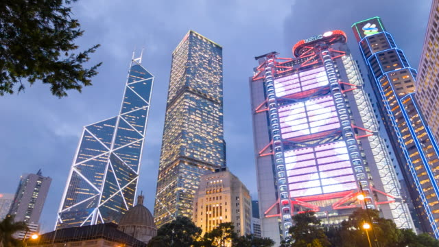 ws statue square in central hong kong at night - hsbc main building stock videos and b-roll footage