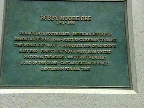 Statue to Bobby Moore unveiling ceremony **Orchestral music including Holst's 'The Planets' and Vaughan Williams' 'Fantasia on Greensleeves' heard...