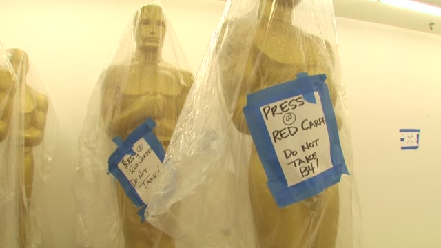 Statues at the Academy Of Motion Picture Arts And Sciences' Oscar Statue Paint Day at Hollywood CA
