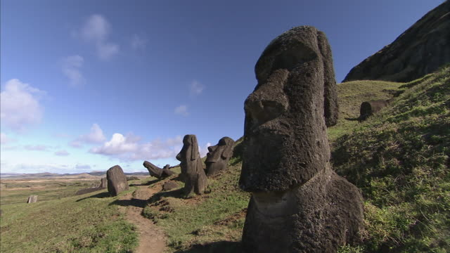 statues dot the land on easter island. - maui stock videos & royalty-free footage
