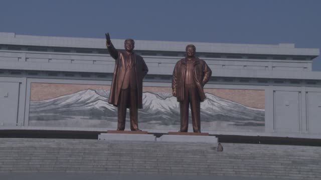 statues in pyongyan north korea - pyongyang stock videos and b-roll footage