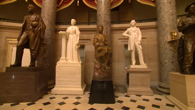 statues inside capitol hill building including ones of confederate leaders who had links to slavery and one of rosa parks who was involved in the... - confederate states of america stock videos & royalty-free footage