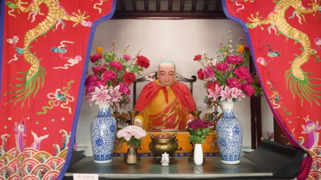 ws pan statues inside of hanshan temple, suzhou, jiangsu province, china - male likeness stock videos & royalty-free footage