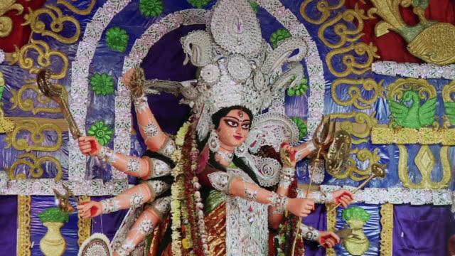cu zo statues of goddess durga at durga puja celebration / kolkata, west bengal, india - kolkata stock videos & royalty-free footage