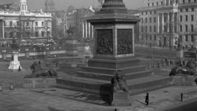 statues of lions cluster at the base of nelson's monument in london's trafalgar square. - 1936 stock videos & royalty-free footage