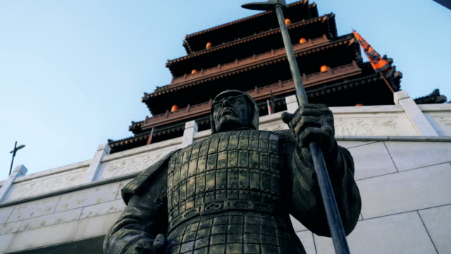 statues of warriors in the han dynasty,xi'an,china. - temple building stock videos & royalty-free footage